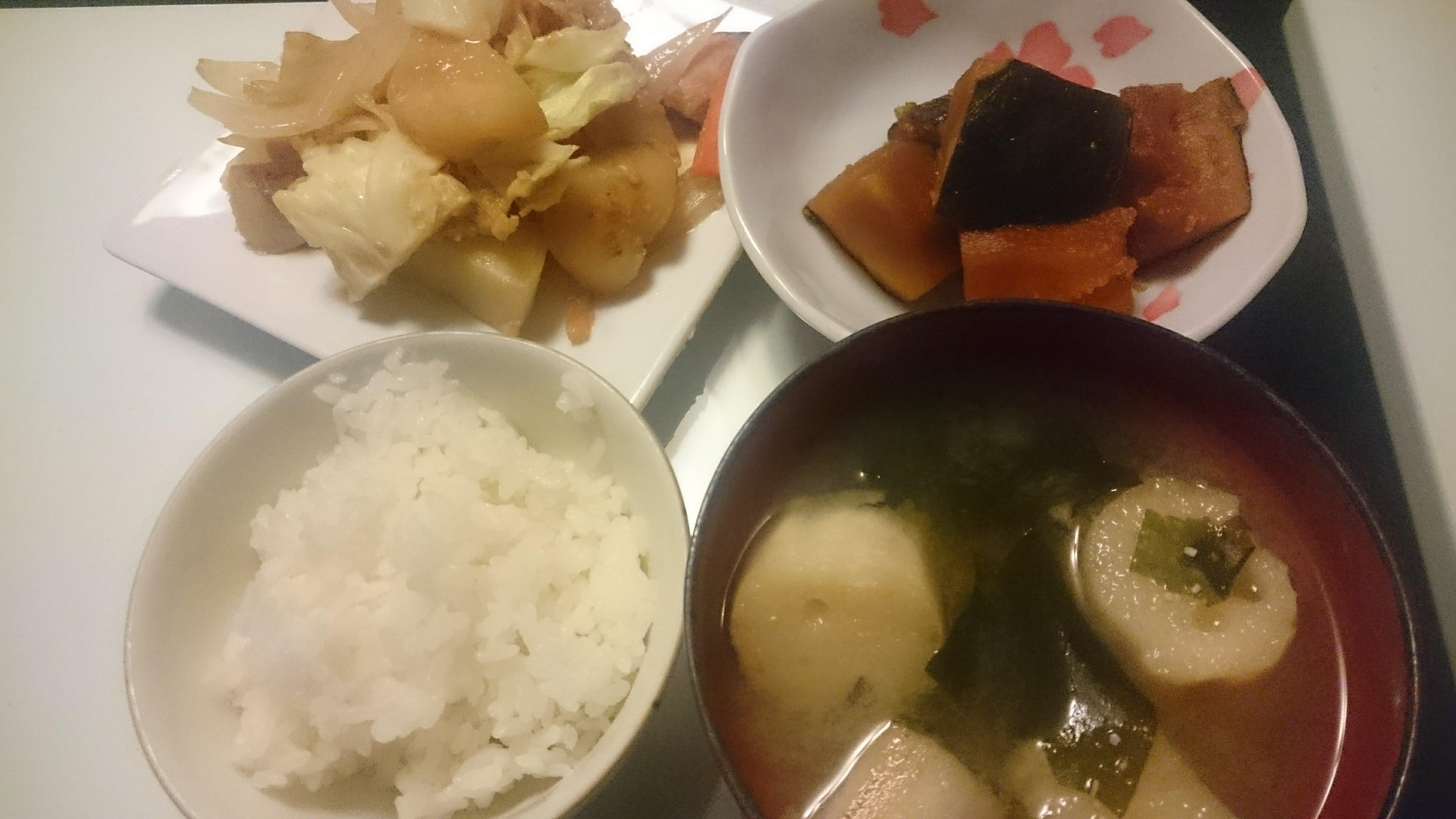 鮭のちゃんちゃん焼き+かぼちゃ煮