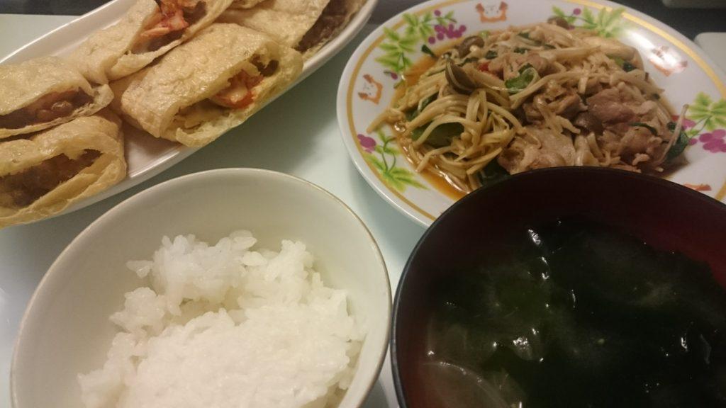 豚肉ときのこの中華炒め+納豆キムチのはさみ焼き