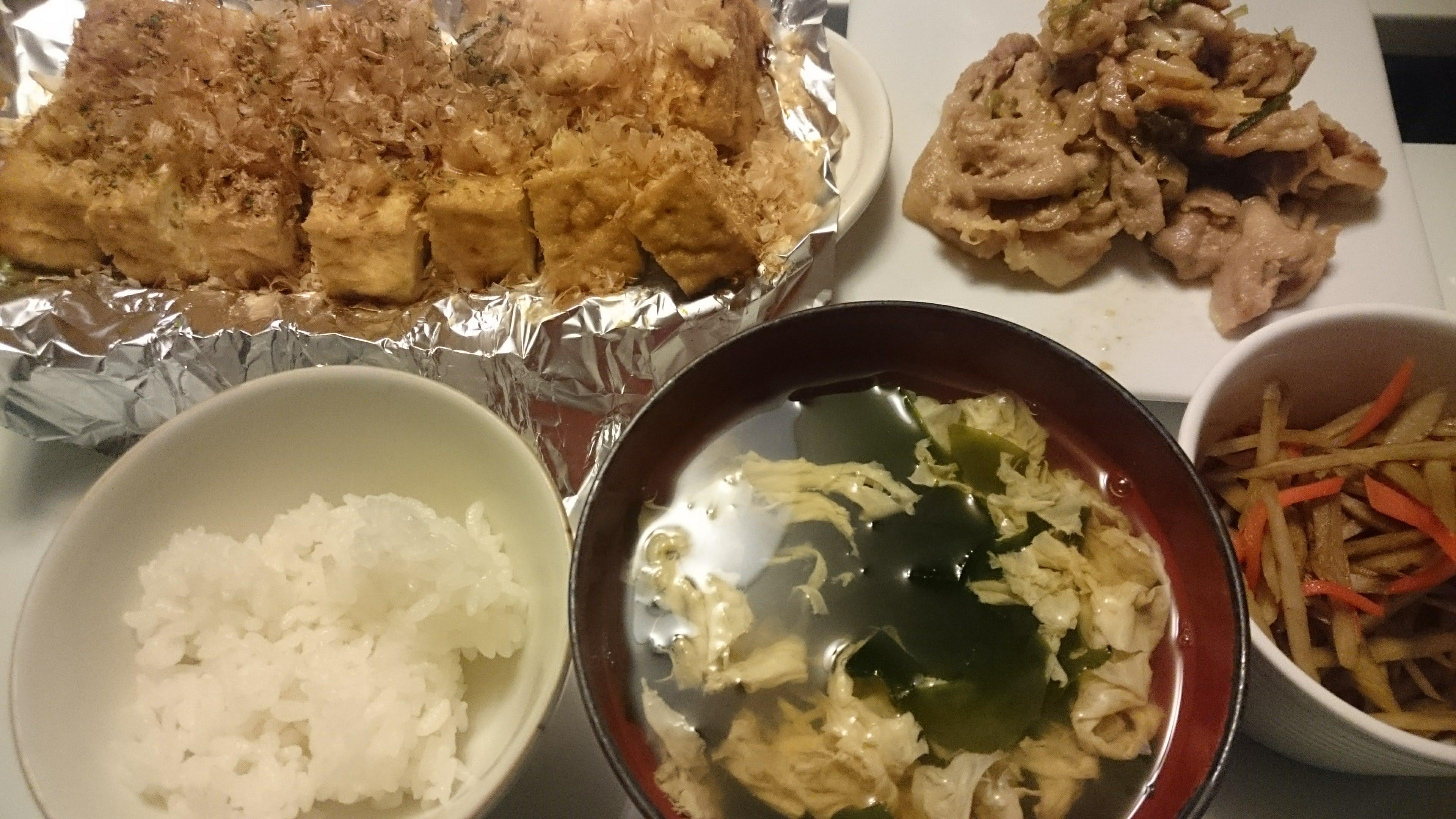豚肉のねぎ味噌炒め+きんぴらごぼう+厚揚げの生姜醤油