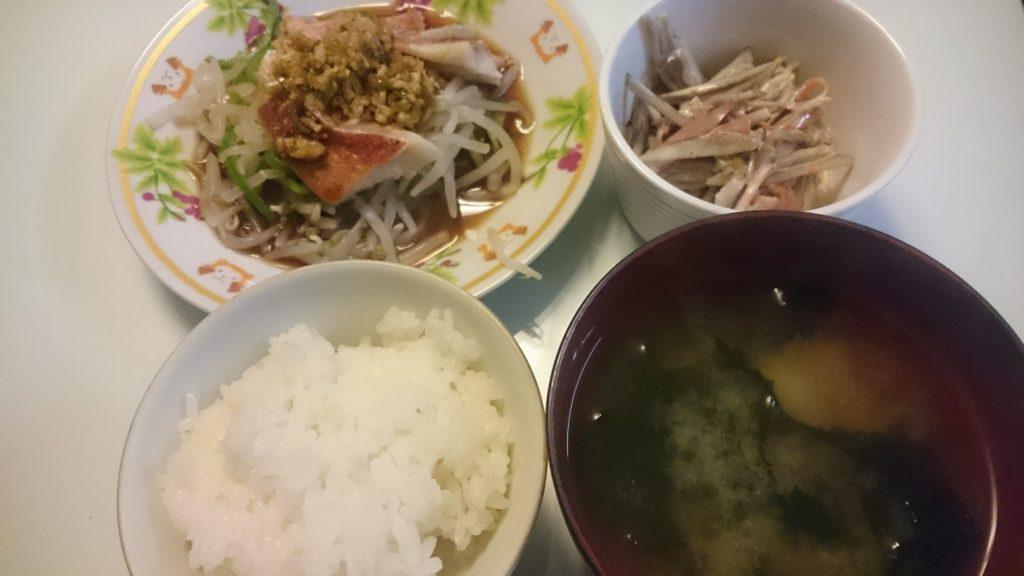 赤魚の中華香味ソースがけ+きんぴらごぼうのサラダ