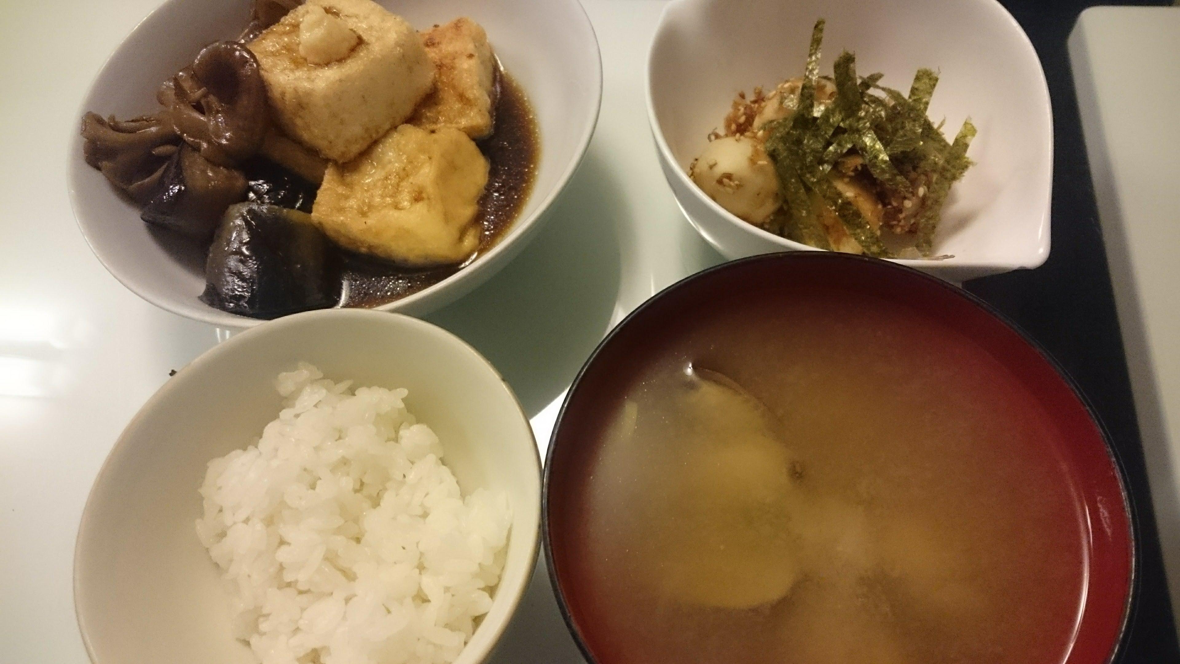 揚げ出し豆腐+里芋のうめ~サラダ