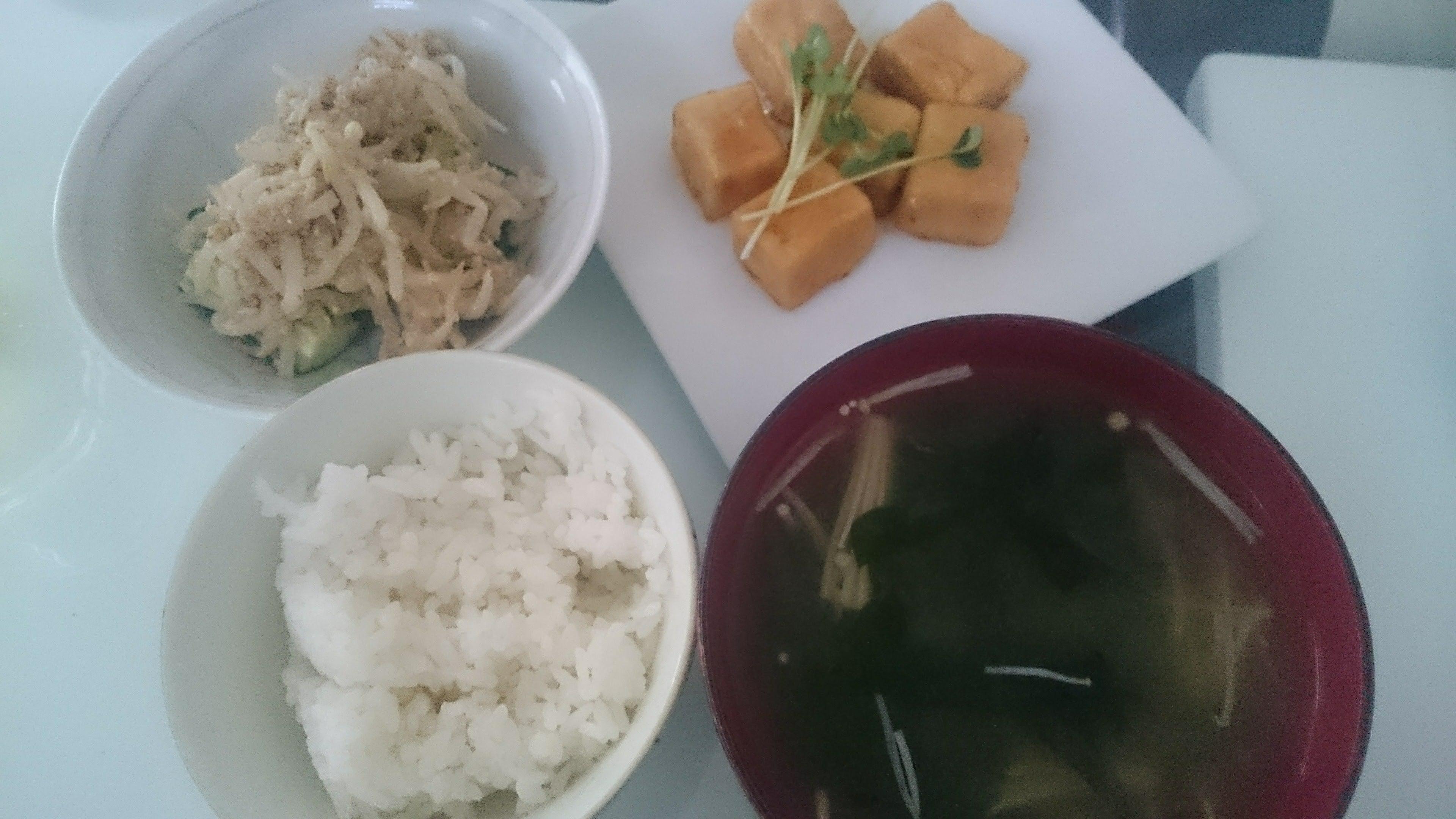 高野豆腐のマヨ照り焼き+きゅうりのゴマもやし