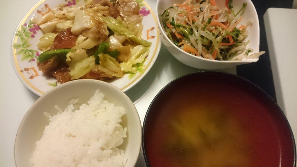 回鍋肉+もやしと豆苗のナムル