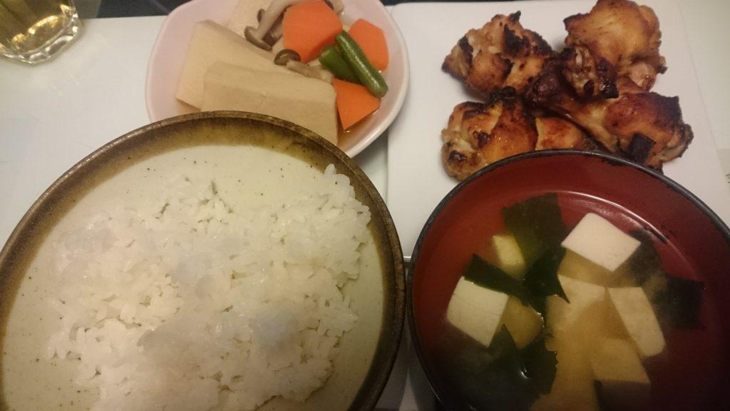 手羽元の味噌焼き+高野豆腐の煮物