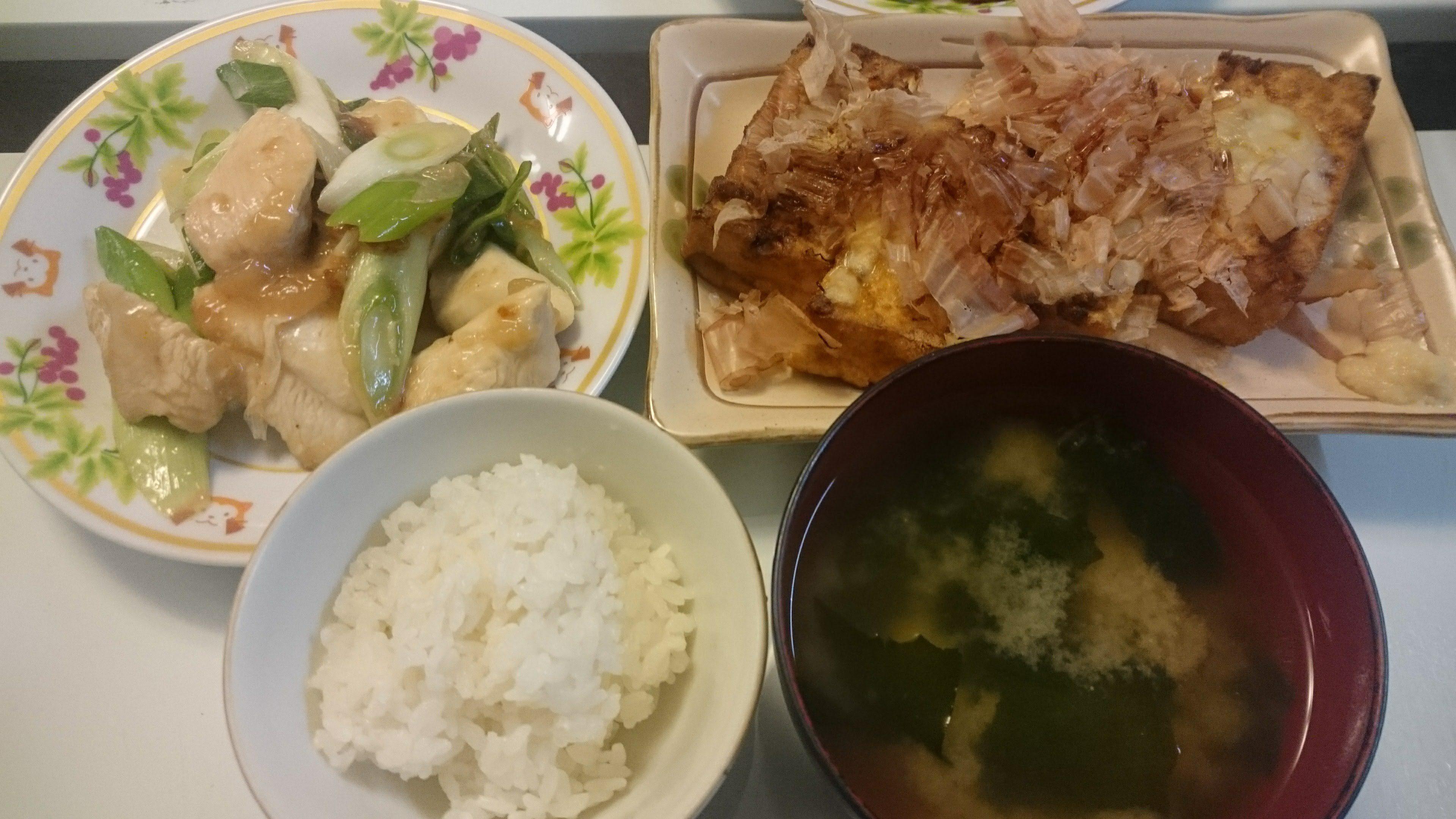 鶏ムネ肉と長ネギの塩レモン炒め+五目生揚げのチーズ焼き