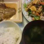 カレイの煮付け+野菜炒め