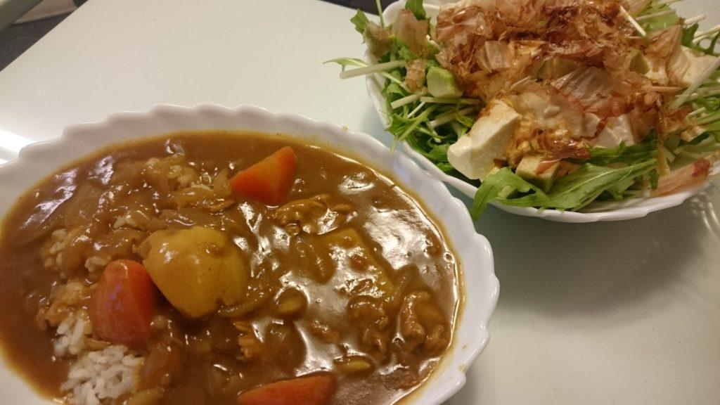 ポークカレー+水菜と豆腐のサラダ