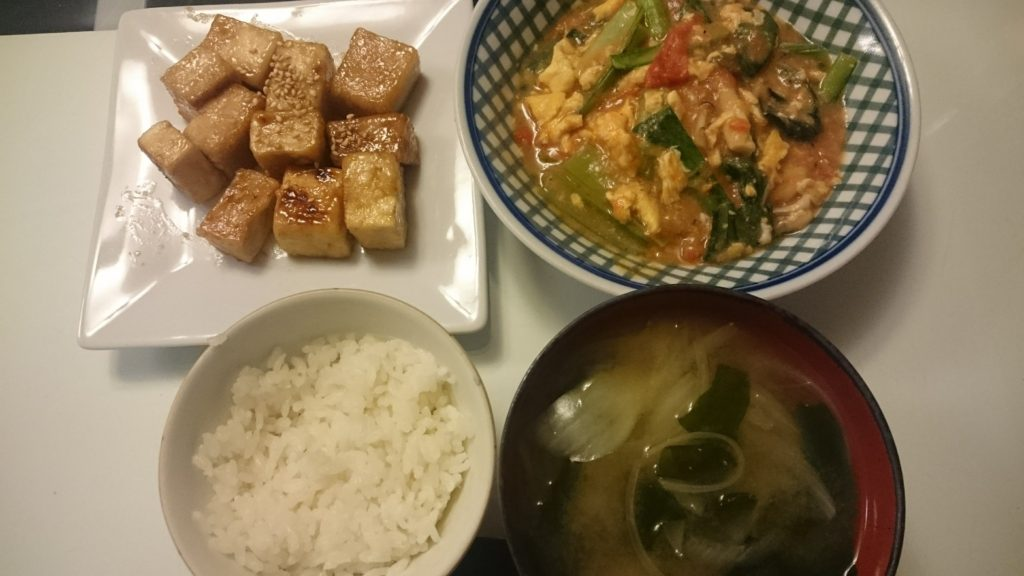 高野豆腐のマヨ照り焼き+トマたま炒め