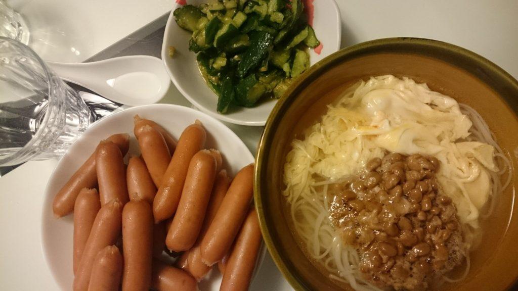 かきたま納豆にゅうめん+ソーセージ+やみつききゅうり