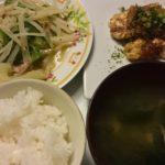 じゃがいもと豚肉のせん切り生姜炒め+なめたけの焼き豆腐