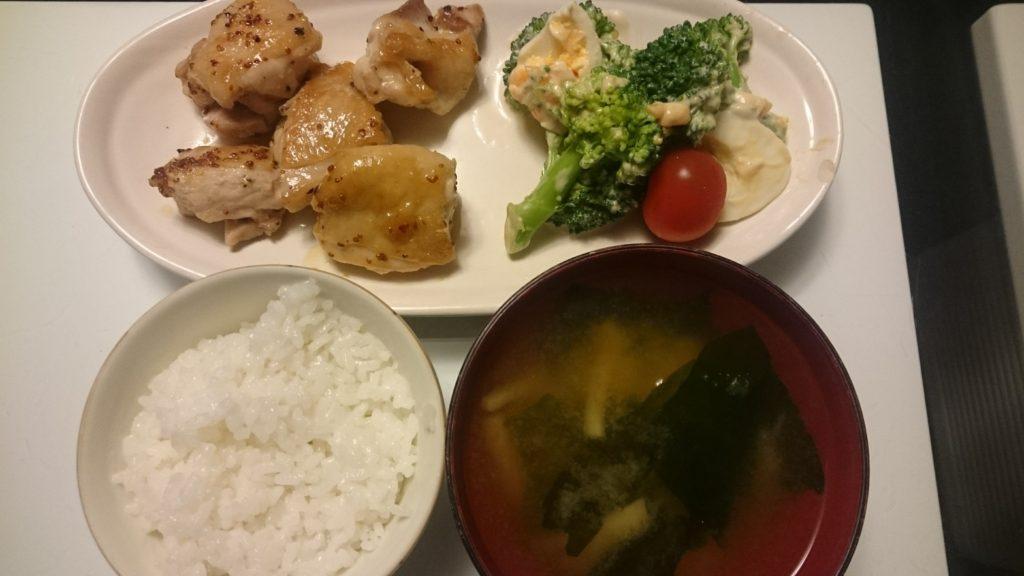 ハニーマスタードチキン+ブロッコリーと卵のサラダ