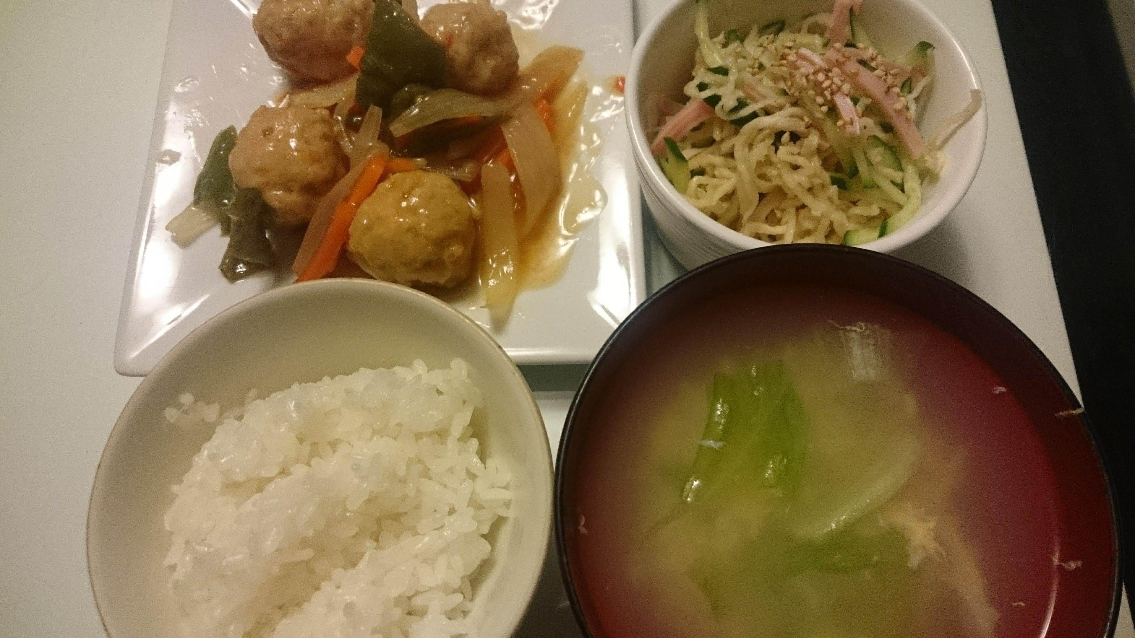 レンチン酢豚+切干大根の中華風サラダ