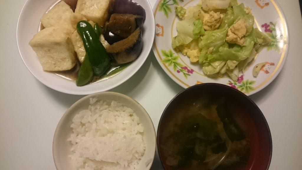 揚げ出し豆腐+キャベツと卵の炒め物