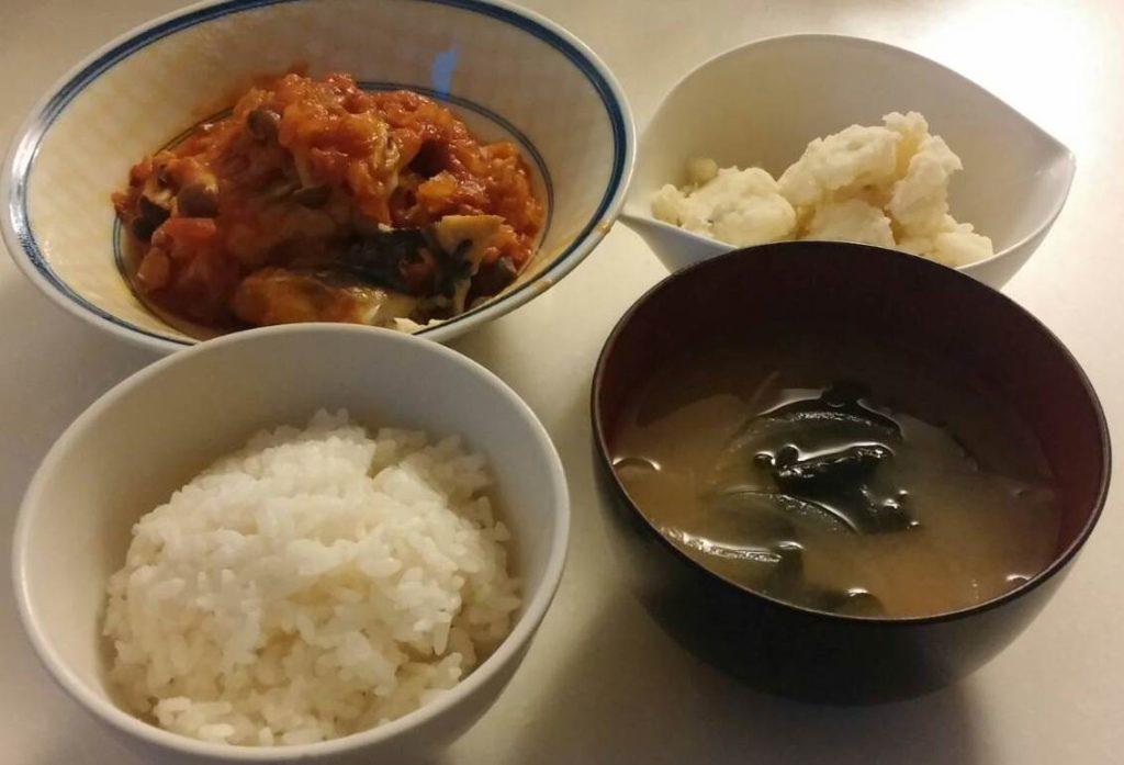 鯖のトマト煮+マッシュポテト