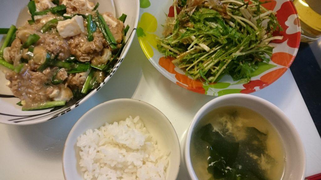麻婆豆腐+水菜のサラダ