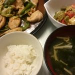 鶏胸肉の回鍋肉+ミニトマトとアボカドのチーズサラダ