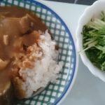 夏野菜カレー+水菜のサラダ