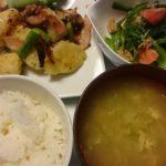 ジャーマンポテト+ほうれん草とトマトのツナサラダ