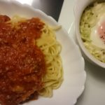 ミートスパゲッティ+巣ごもりキャベツ