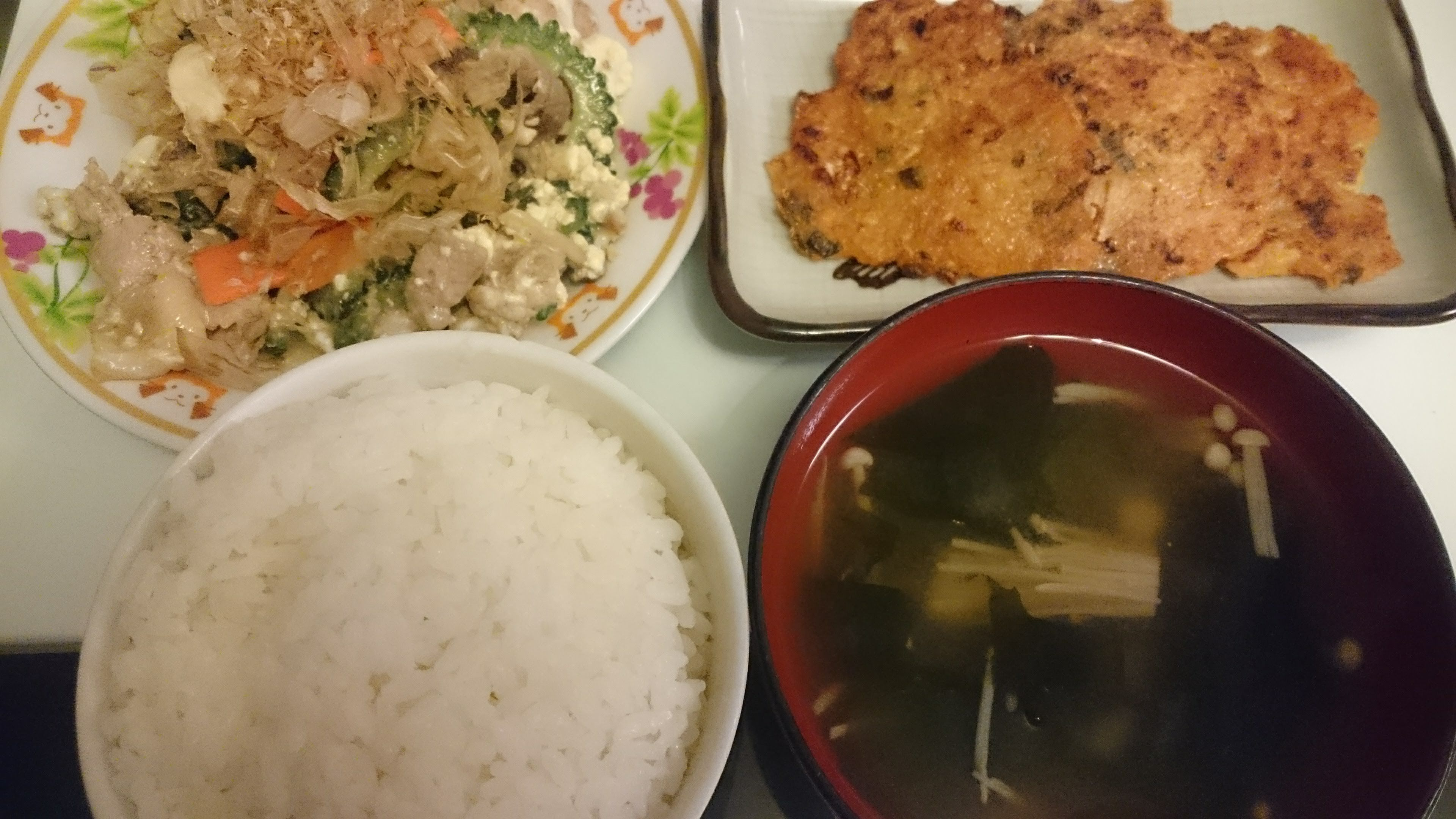 ゴーヤチャンプルー+キムチチヂミ