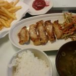 トンテキ+ごぼうのサラダ+フライドポテト