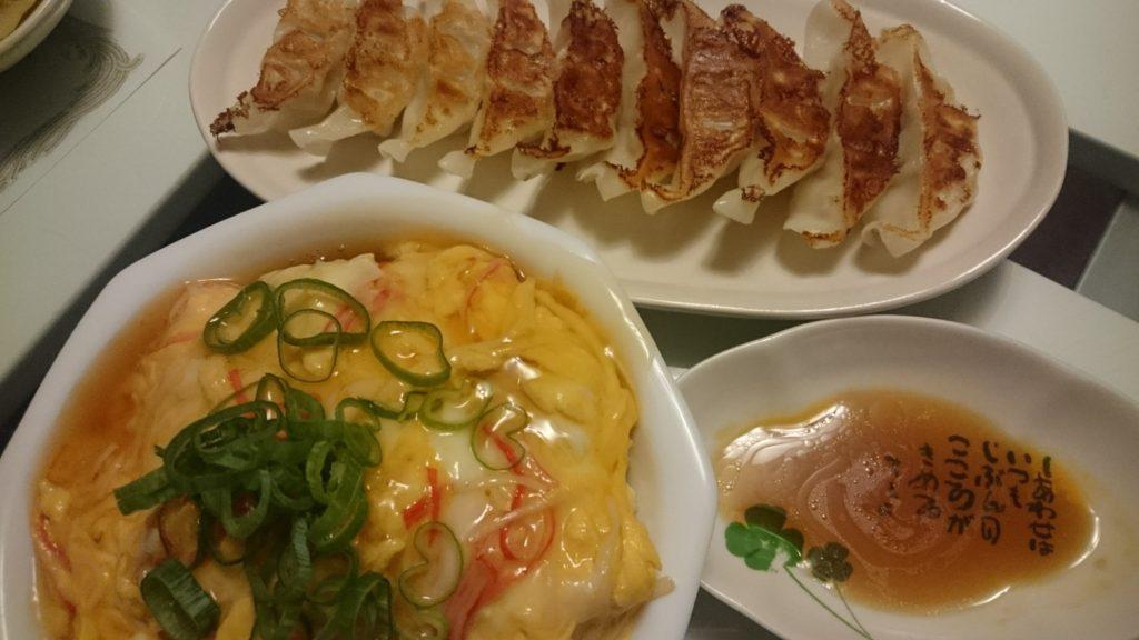 かにかま丼+餃子
