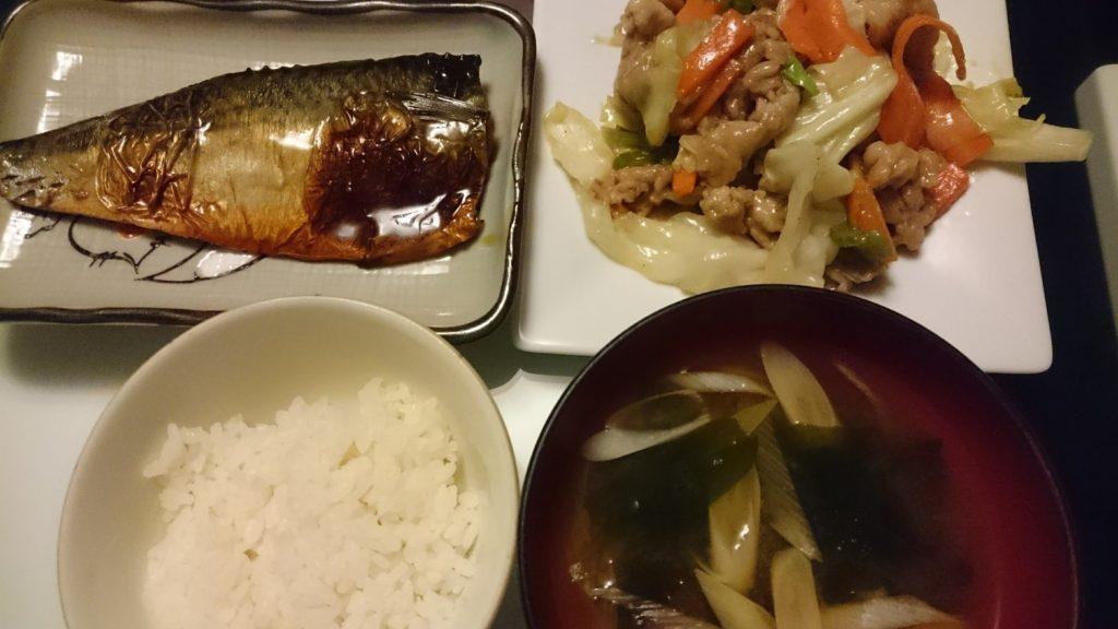 鯖の照り焼き+野菜炒め