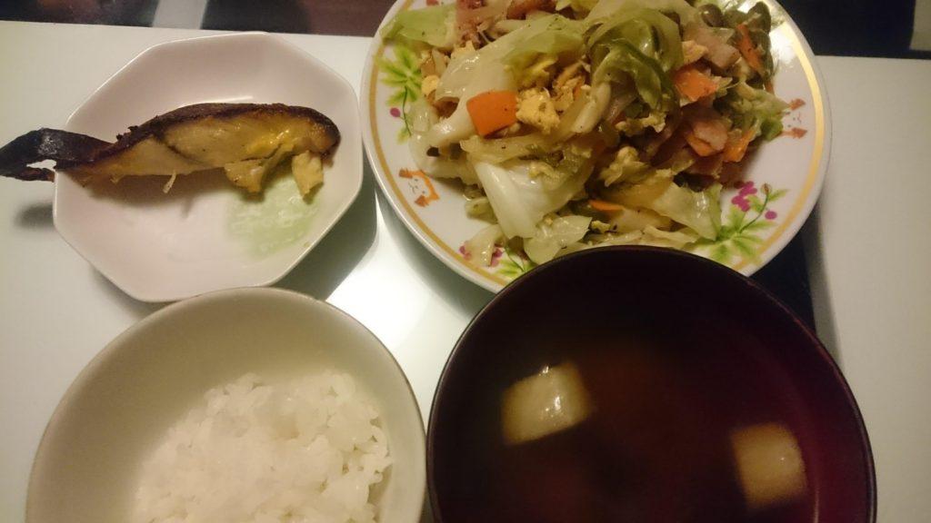 シルバーの西京漬け+野菜炒め
