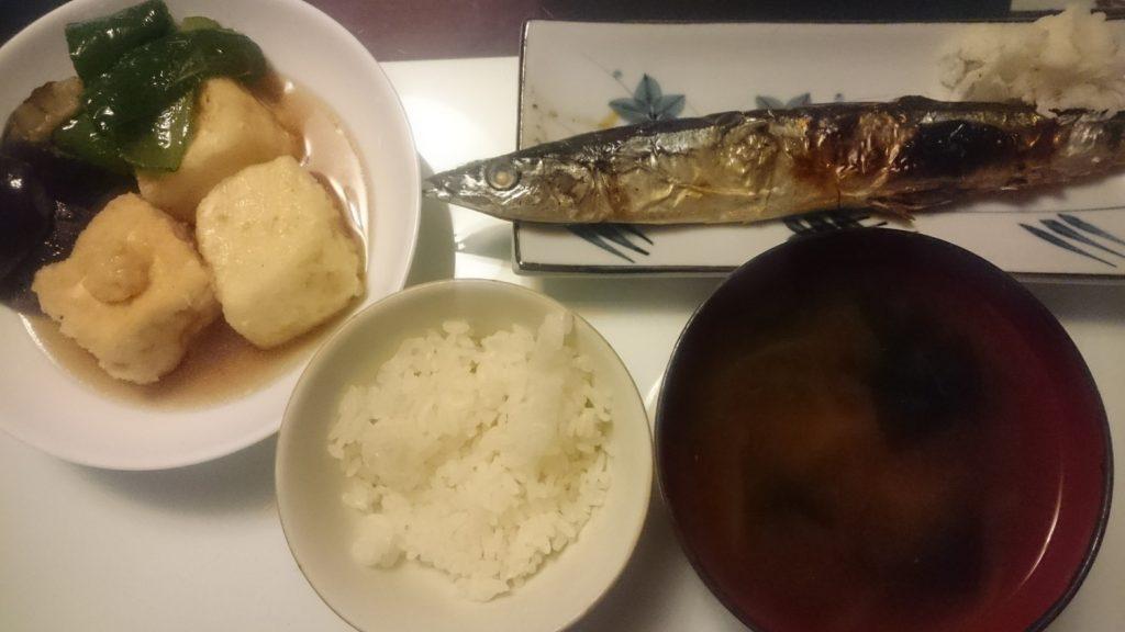 秋刀魚の塩焼き+揚げ出し豆腐
