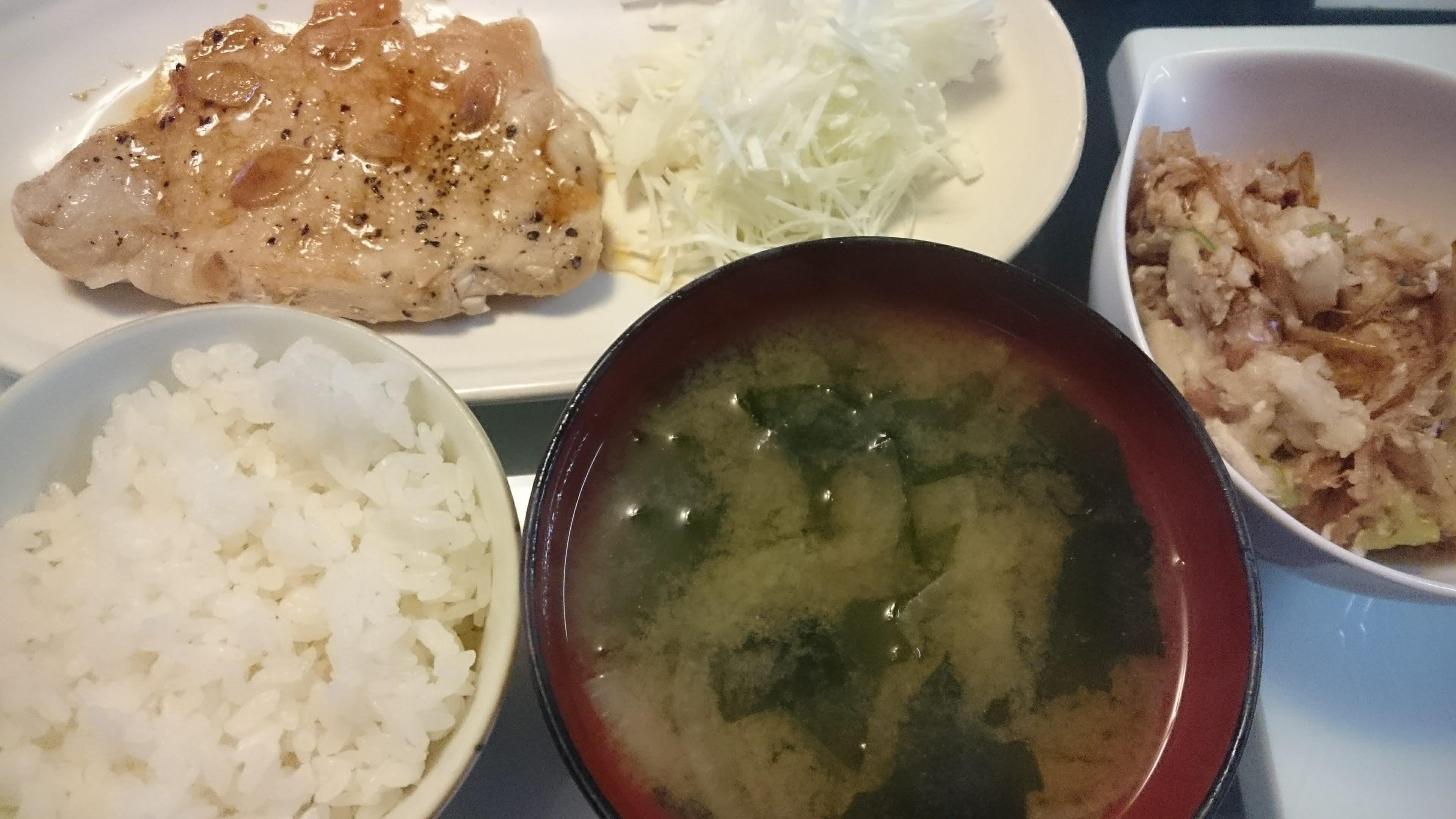トンテキ+里芋の梅サラダ