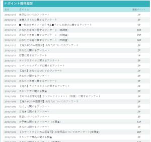infoQポイント獲得履歴