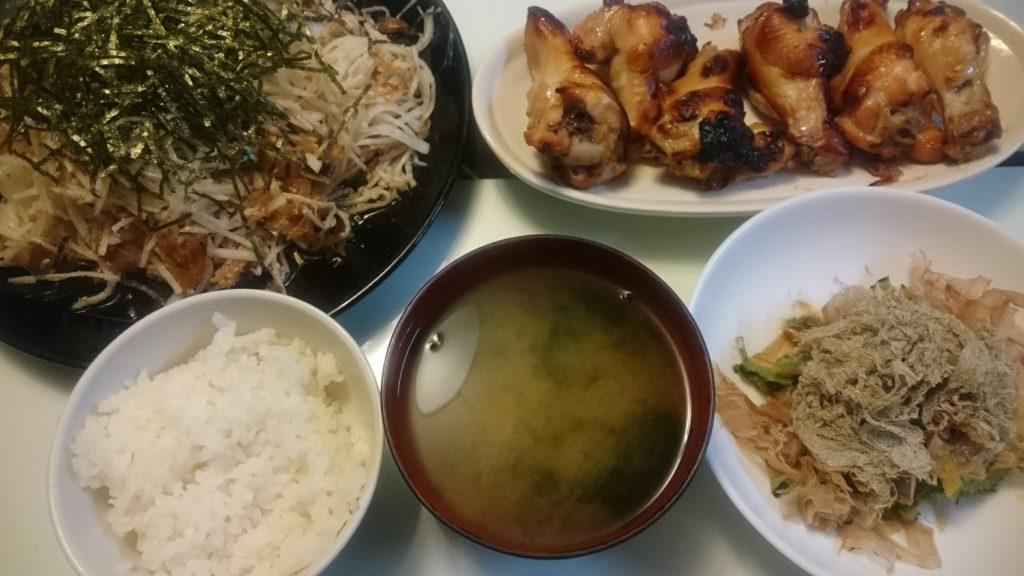 手羽元のオーブン焼き+大根サラダ+ゴーヤのおかか昆布和え