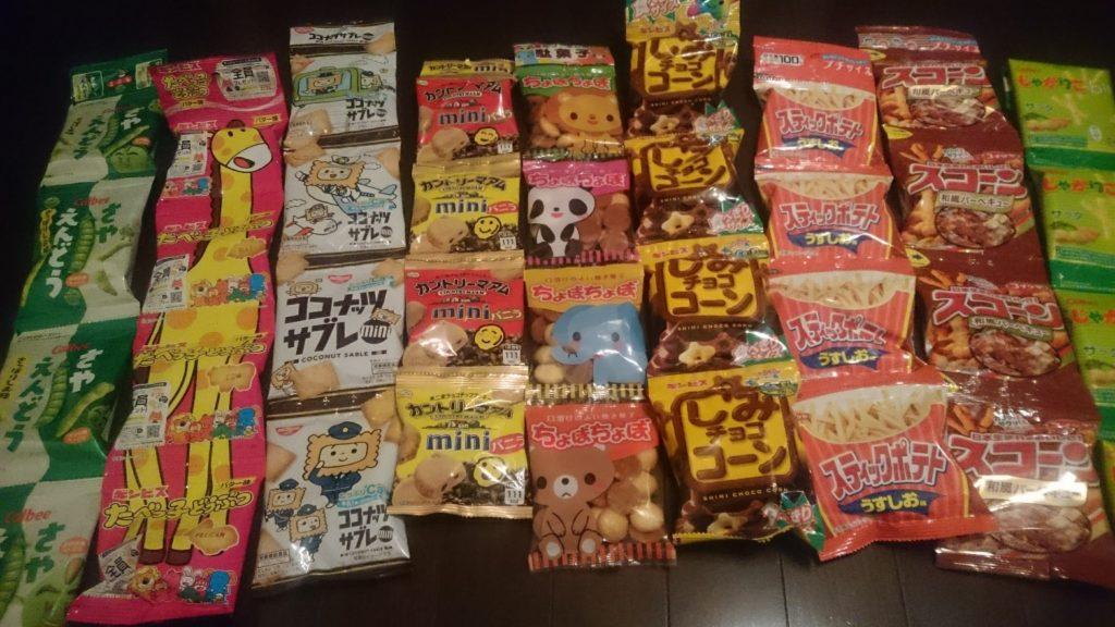 100円ショップの4連菓子たち
