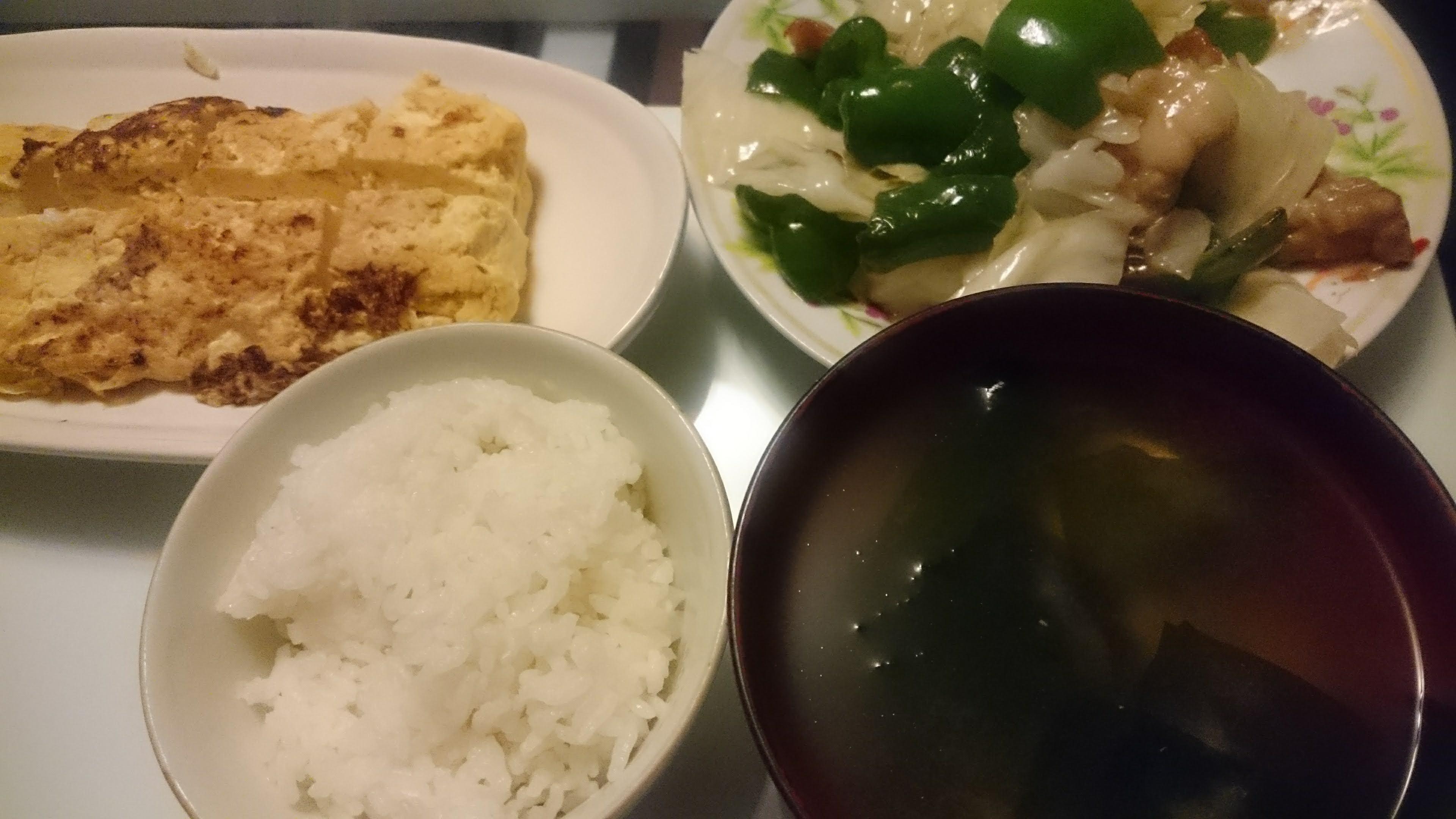 回鍋肉+桜えび入り厚焼き玉子