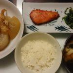 マンダイのみりん漬け+大根と油揚げの含め煮+ほうれん草の胡麻和え
