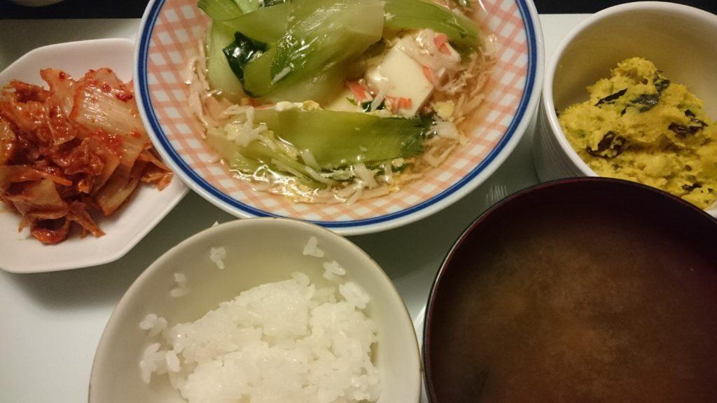 豆腐のカニカマあんかけ+かぼちゃとレーズンのサラダ