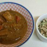 チキンカレーライス+切干大根とツナのサラダ