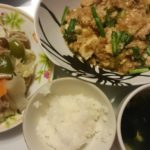 麻婆豆腐+野菜炒め