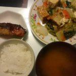 アジの醤油漬け+白菜と厚揚げのピリ辛炒め