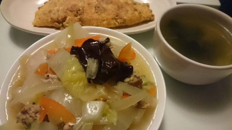 中華丼+納豆オムレツ