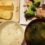 鮭とブロッコリーの塩炒め+だし巻き卵