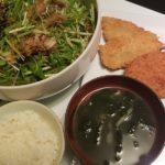 アジフライと野菜コロッケ+水菜のサラダ