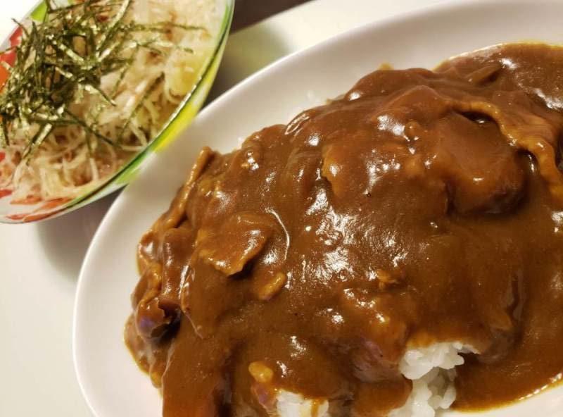 ポークカレー+大根サラダ