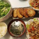 豚肉のトマト生姜焼き+水菜とツナのサラダ+さつま揚げ