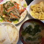 豆腐ステーキの野菜あんかけ+さつま芋とツナのサラダ