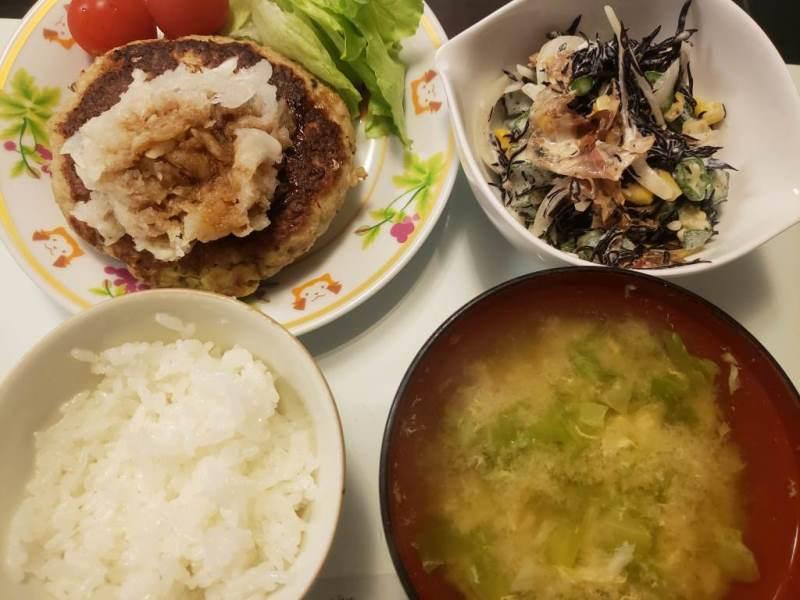 いわしバーグ+ひじきとオクラのサラダ