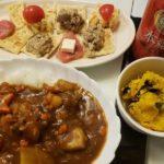 カレーライス+かぼちゃサラダ+カナッペ
