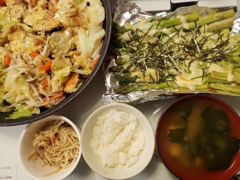 鮭のちゃんちゃん焼き+アスパラのチーズ焼き+えのきの煮びたし