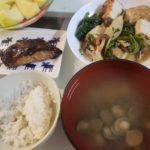鯖の醤油漬け焼き+株と厚揚げの煮物