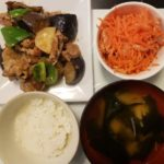 豚なすピーマンのみそ炒め+ツナと人参のサラダ